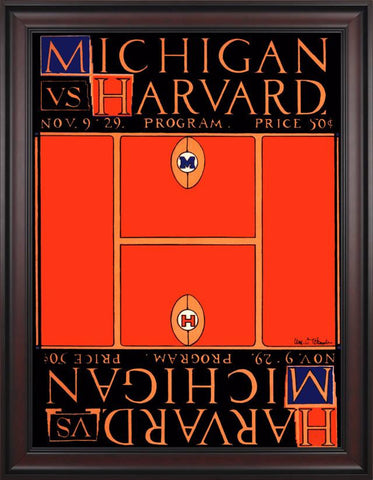 1929 Michigan Wolverines vs Harvard Crimson 30 x 40 Framed Canvas Historic Football Poster
