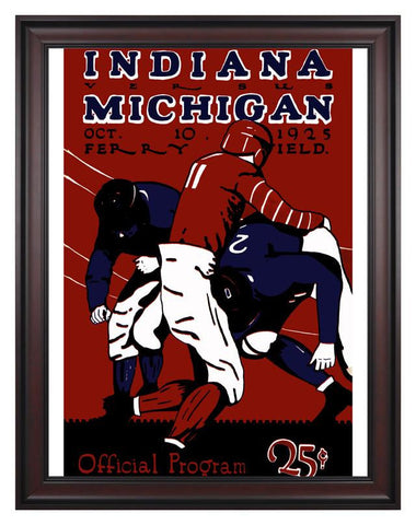 1925 Michigan Wolverines vs Indiana Hoosiers 30 x 40 Framed Canvas Historic Football Print