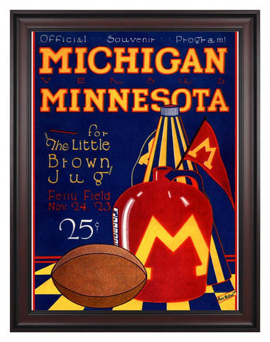 1923 Michigan Wolverines vs Minnesota Golden Gophers 30 x 40 Framed Canvas Historic Football Print