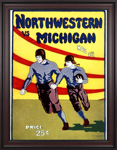 1924 Michigan Wolverines vs Northwestern Wildcats 30 x 40 Framed Canvas Historic Football Poster