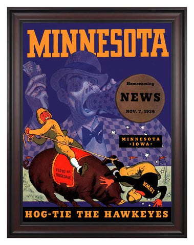 1936 Minnesota Golden Gophers vs Iowa Hawkeyes 30 x 40 Framed Canvas Historic Football Poster