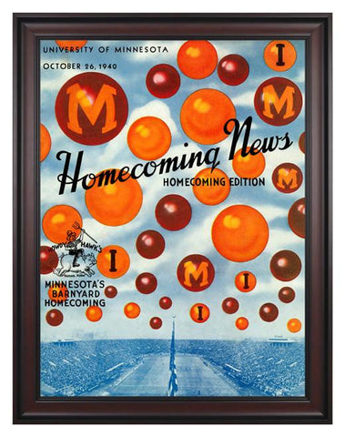 1940 Minnesota Golden Gophers vs Iowa Hawkeyes 30 x 40 Framed Canvas Historic Football Poster