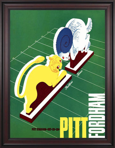 1938 Pittsburgh Panthers vs Fordham 30 x 40 Framed Canvas Historic Football Poster
