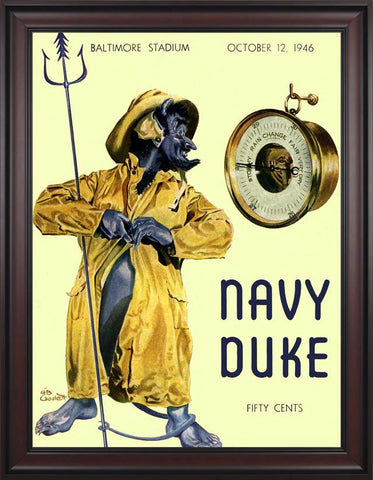 1946 Navy Midshipmen vs Duke Blue Devils 30 x 40 Framed Canvas Historic Football Poster