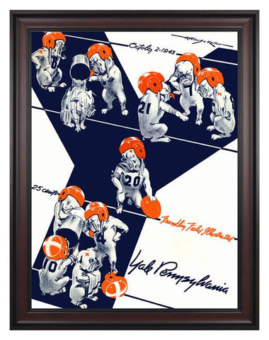 1943 Penn Quakers vs Yale Bulldogs 30 x 40 Framed Canvas Historic Football Poster