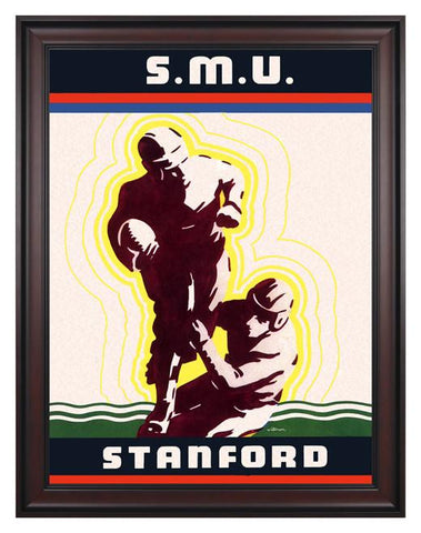 1936 Stanford Cardinal vs SMU Mustangs 30 x 40 Framed Canvas Historic Football Poster