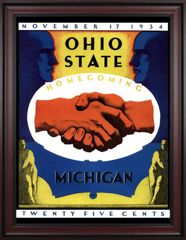 1934 Ohio State Buckeyes vs Michigan Wolverines 30 x 40 Framed Canvas Historic Football Poster