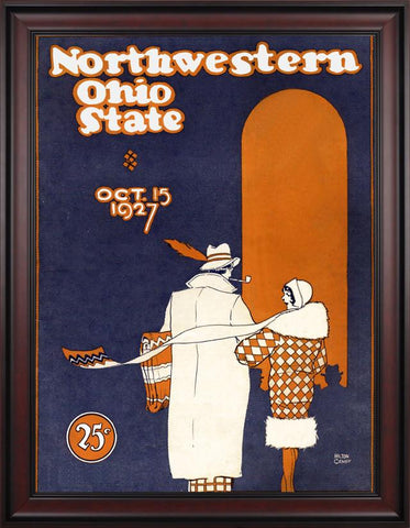 1927 Ohio State Buckeyes vs Northwestern Wildcats 30 x 40 Framed Canvas Historic Football Poster