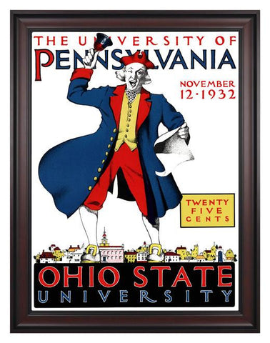 1932 Ohio State Buckeyes vs Penn Quakers 30 x 40 Framed Canvas Historic Football Poster