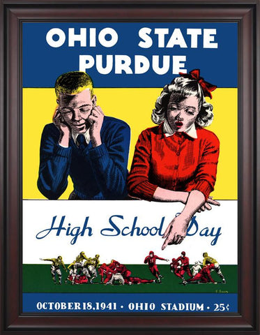 1941 Ohio State Buckeyes vs Purdue Boilermakers 30 x 40 Framed Canvas Historic Football Poster