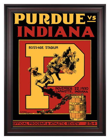 1930 Purdue Boilermakers vs Indiana Hoosiers 30 x 40 Framed Canvas Historic Football Print