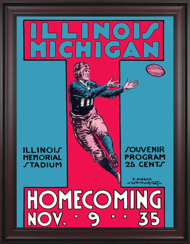 1935 Michigan Wolverines vs Illinois Fighting Illini 30 x 40 Framed Canvas Historic Football Poster