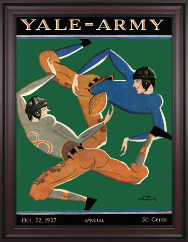 1927 Yale Bulldogs vs Army Black Knights 30 x 40 Framed Canvas Historic Football Poster