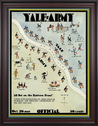 1929 Yale Bulldogs vs Army Black Knights 30 x 40 Framed Canvas Historic Football Poster