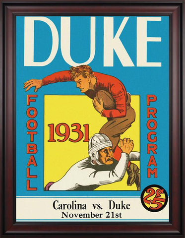 1931 Duke Blue Devils vs UNC Tar Heels 30 x 40 Framed Canvas Historic Football Poster