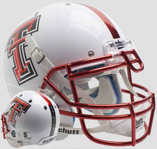 Texas Tech Red Raiders Authentic Schutt XP Full Size Helmet - Guns Up Red Chrome Mask