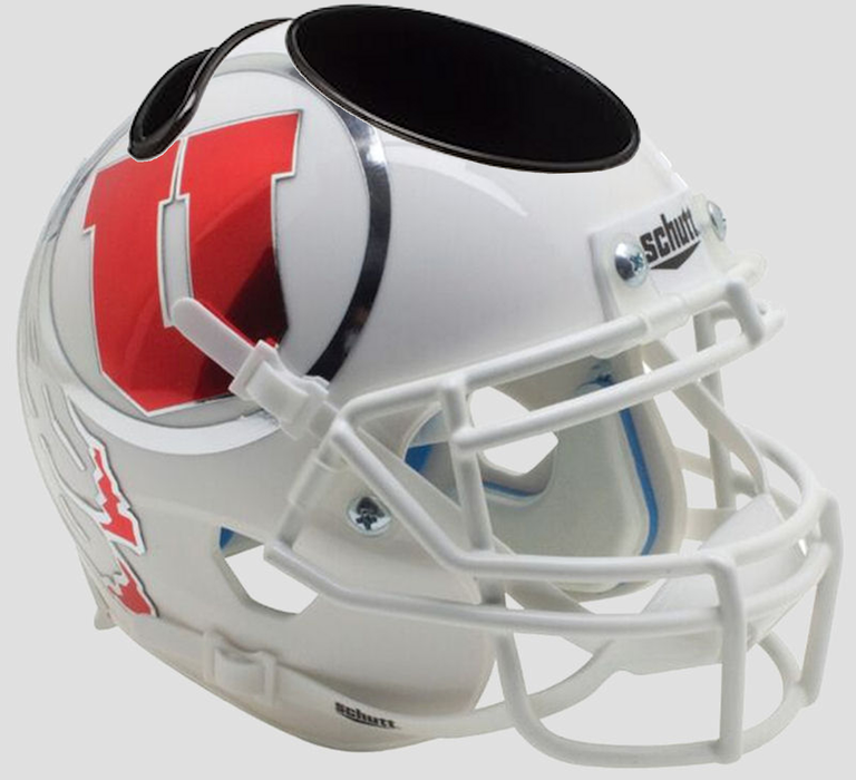 Utah Utes Mini Helmet Desk Caddy - White w/Oversized Decal
