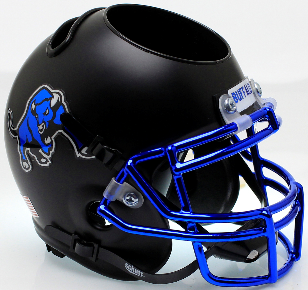 Buffalo Bulls Mini Helmet Desk Caddy - Matte Black Chrome Mask