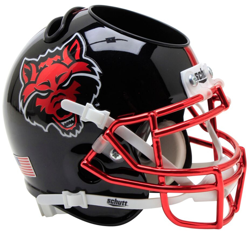 Arkansas State Indians Mini Helmet Desk Caddy - Black with Chrome Mask