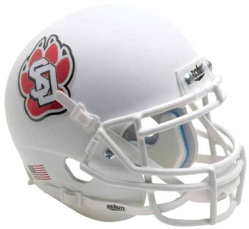 South Dakota Coyotes Schutt XP Mini Helmet - Matte White with Chrome Decal