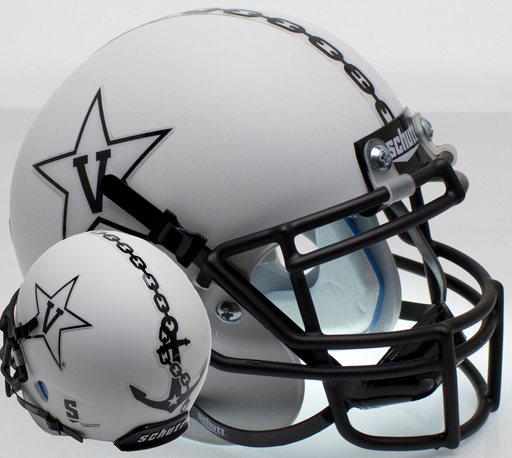 Vanderbilt Commodores Schutt XP Mini Helmet - Matte White w/ Matte Mask