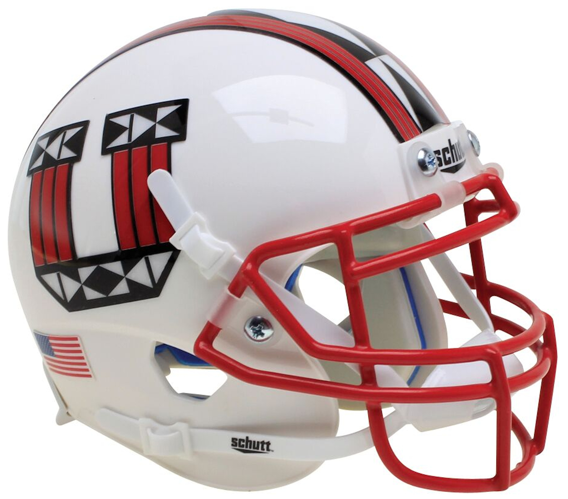 Utah Utes Schutt XP Mini Helmet - White With Red Mask