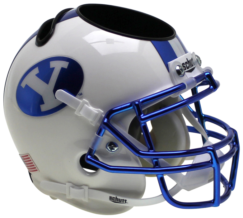 BYU Cougars Mini Helmet Desk Caddy - Chrome Decals and Mask