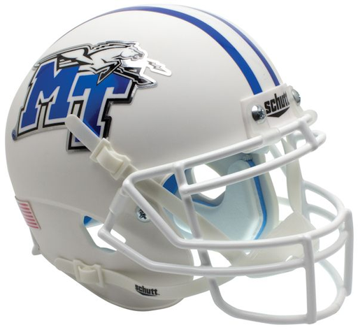 Middle Tennessee State Blue Raiders Schutt XP Mini Helmet - White with Chrome Decal