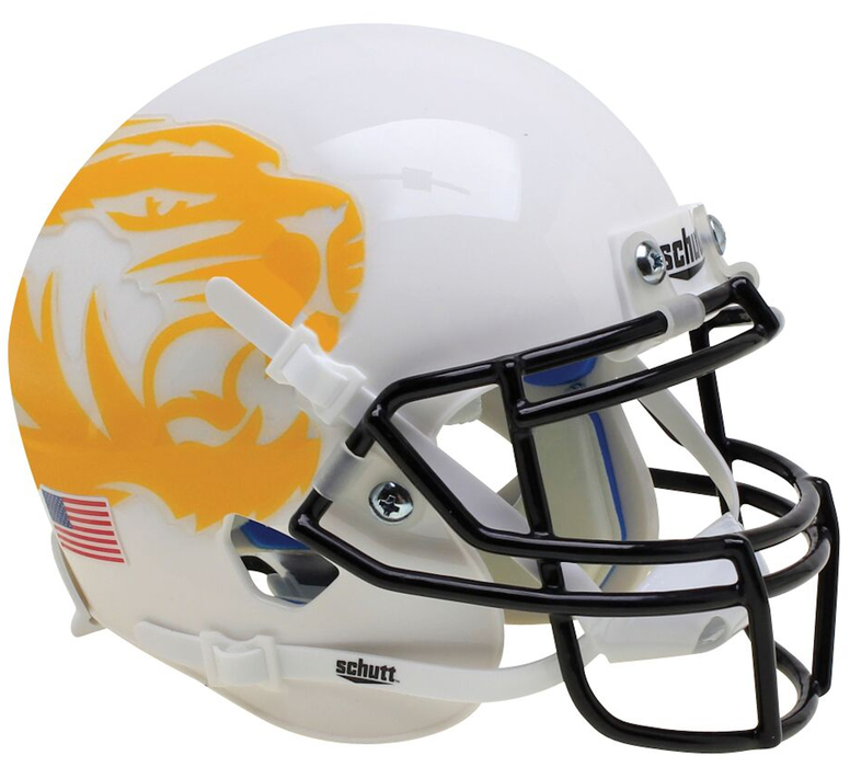 Missouri Tigers Authentic Schutt XP Full Size Helmet - White Yellow Tiger