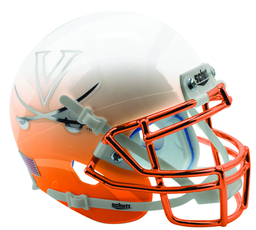 Virginia Cavaliers Authentic Schutt XP Full Size Helmet - White Orange Featherhead with Chrome Mask