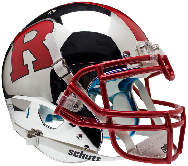 Rutgers Scarlet Knights Authentic Schutt XP Full Size Helmet - Chrome Red R and Red Stripe
