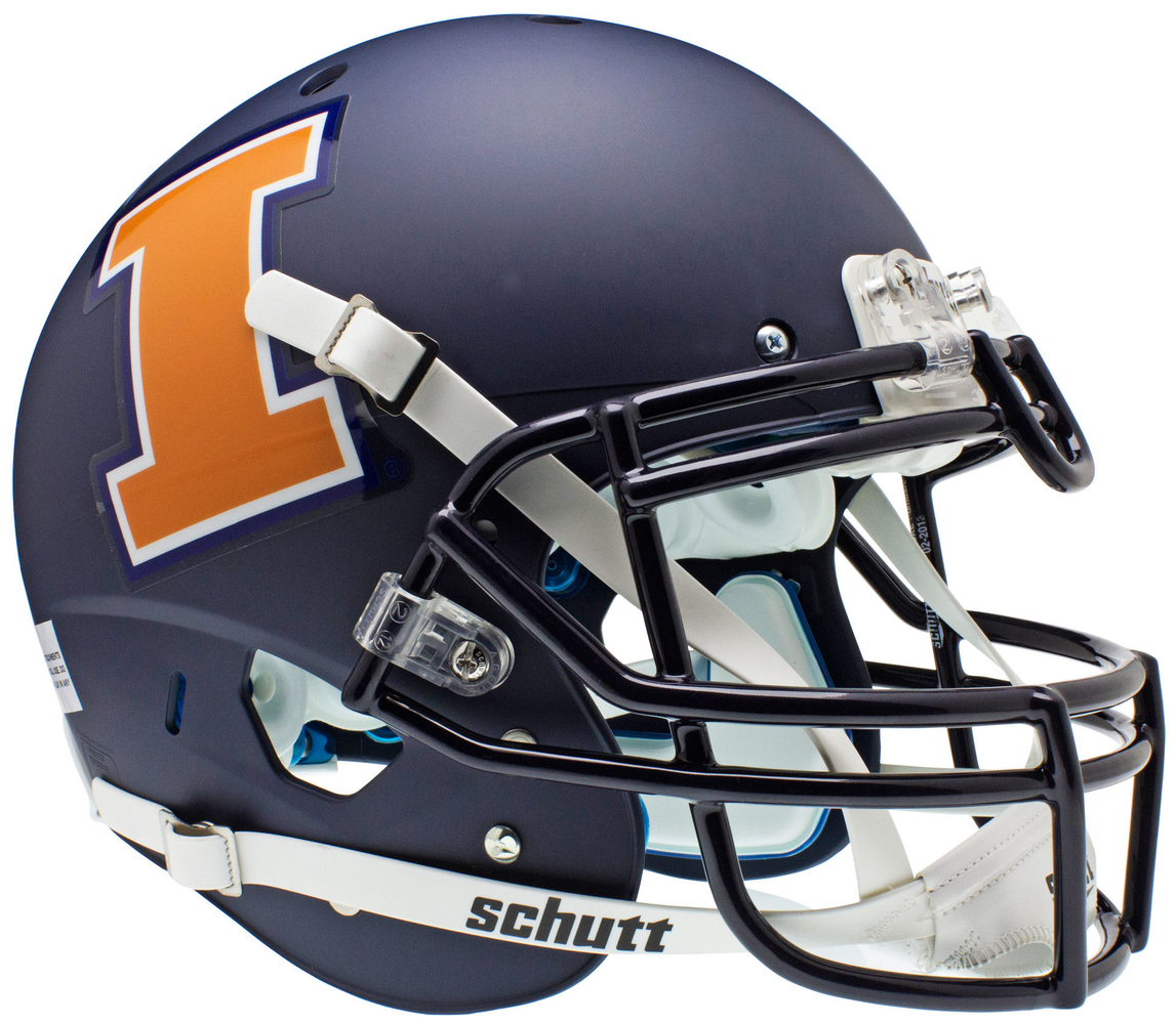 Illinois Fighting Illini Authentic Schutt XP Full Size Helmet - Matte Navy