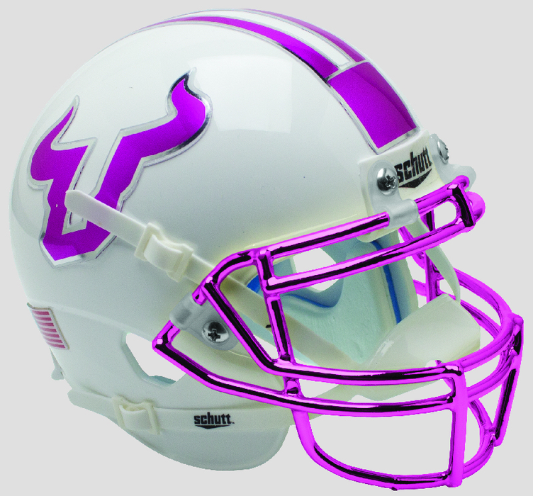 South Florida Bulls Mini Helmet Desk Caddy - Pink with Chrome Mask