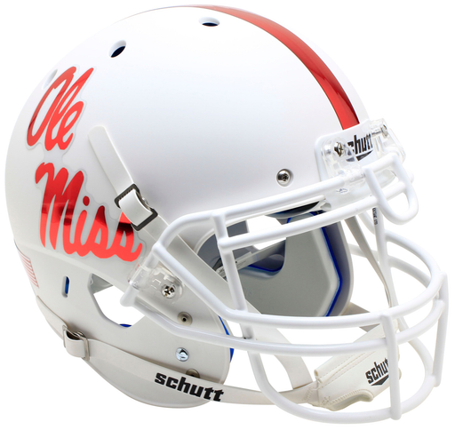 Mississippi (Ole Miss) Rebels Authentic Schutt XP Full Size Helmet - White With Red Decal