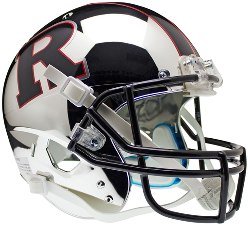 Rutgers Scarlet Knights Replica Chrome Schutt XP Full Size Helmet - Black R and Stripe