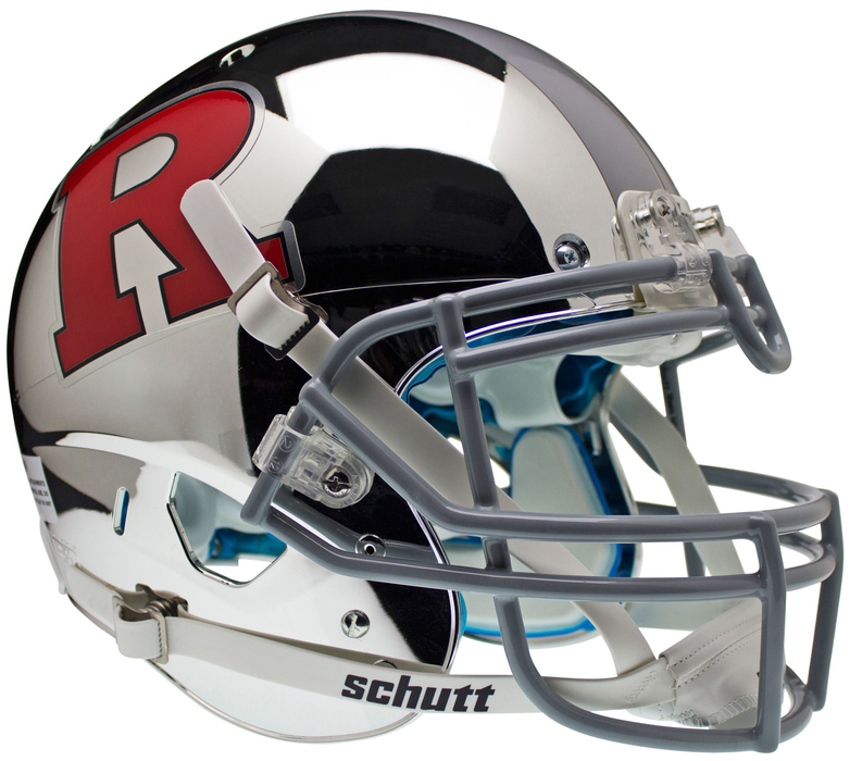 Rutgers Scarlet Knights Authentic Schutt XP Full Size Helmet - Chrome Red R and Silver Stripe