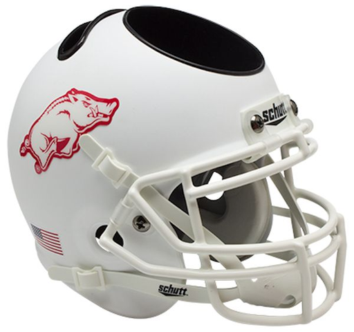 Arkansas Razorbacks Mini Helmet Desk Caddy - Matte White