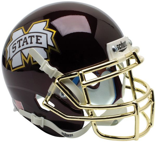 Mississippi State Bulldogs Schutt XP Mini Helmet - Chrome Gold Mask