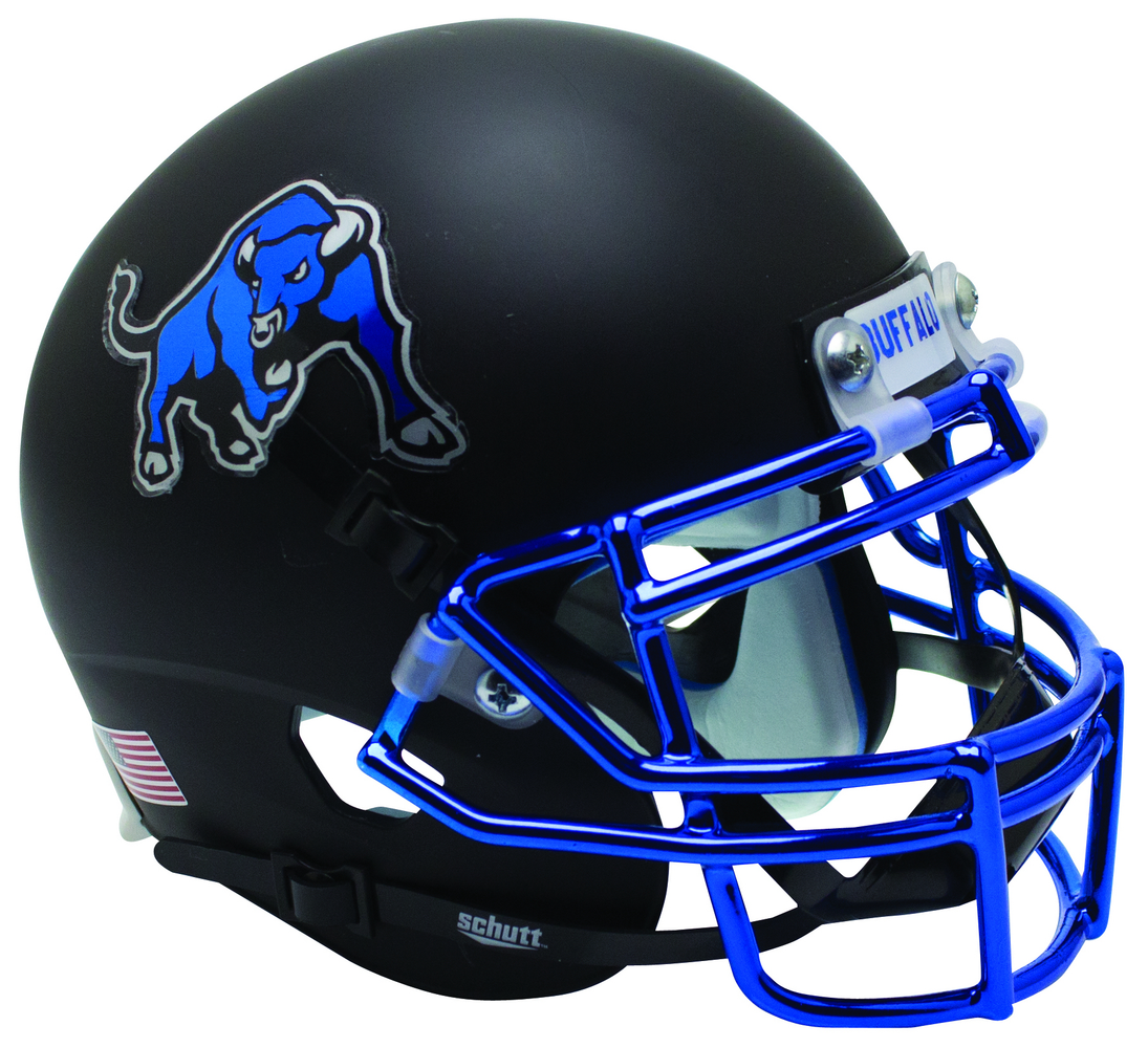 Buffalo Bulls Schutt XP Mini Helmet - Matte Black Chrome Mask