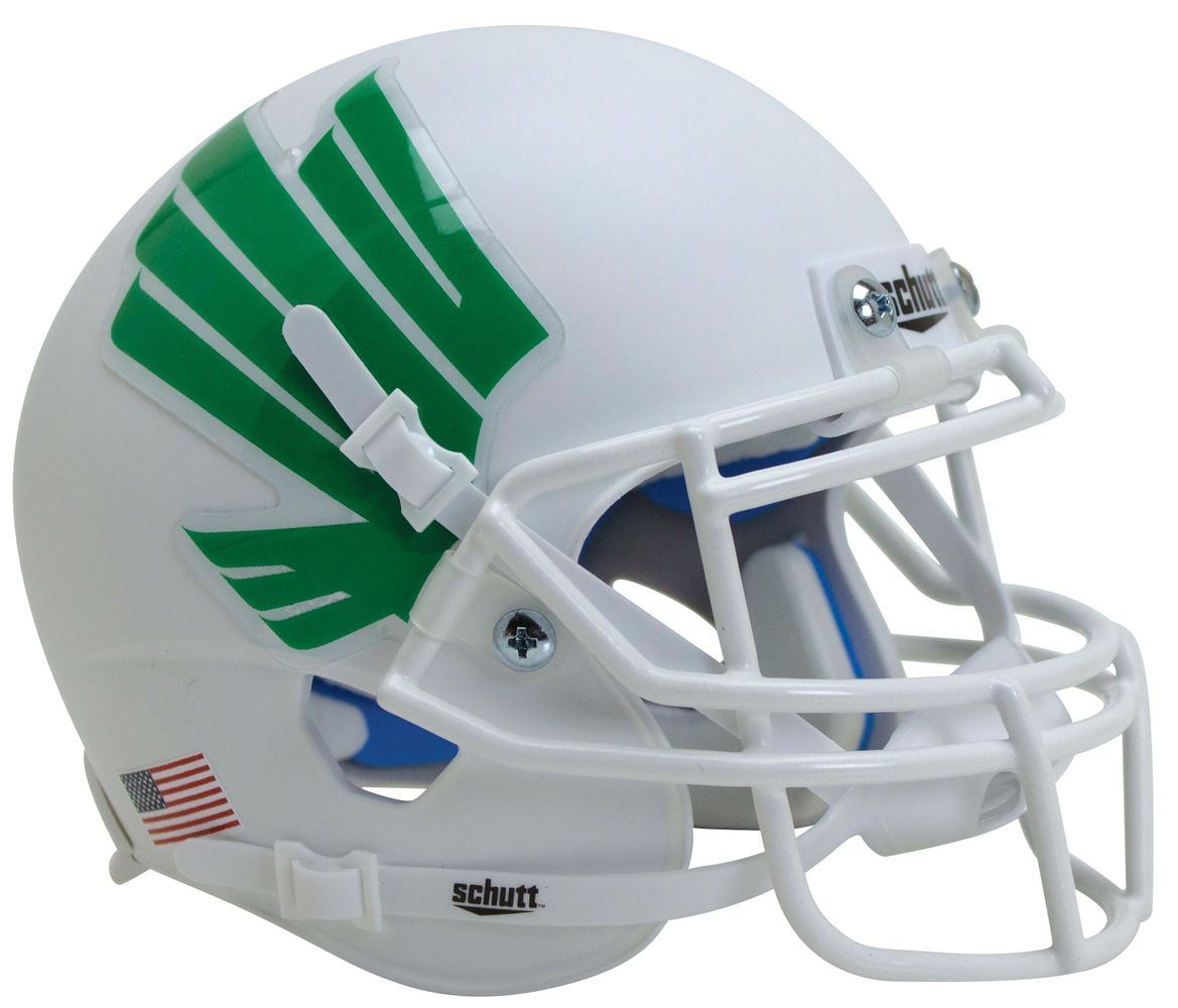 North Texas Mean Green Authentic Schutt XP Full Size Helmet - Matte White