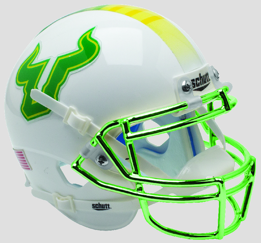 South Florida Bulls Replica Schutt XP Full Size Helmet - Yellow with Chrome Mask