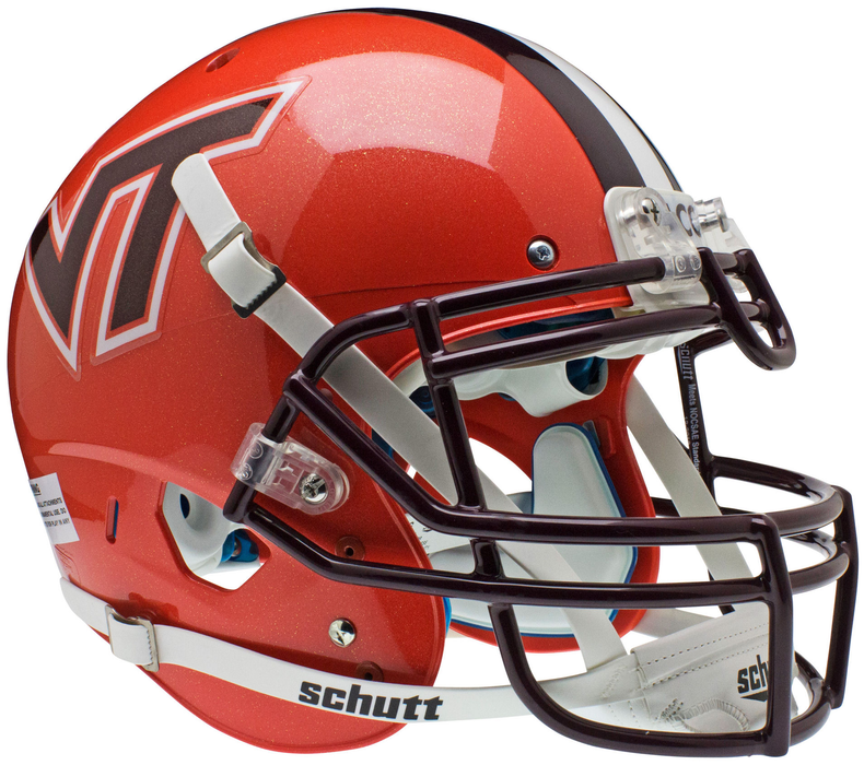 Virginia Tech Hokies Authentic Schutt XP Full Size Helmet - Orange w/ Stripe