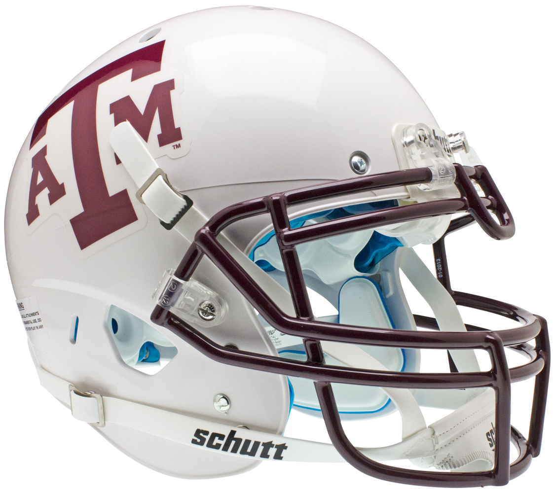 Texas A&M Aggies Authentic White Schutt XP Full Size Helmet - White Maroon Mask