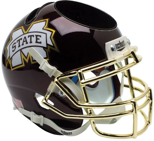 Mississippi State Bulldogs Mini Helmet Desk Caddy - Chrome Gold Mask