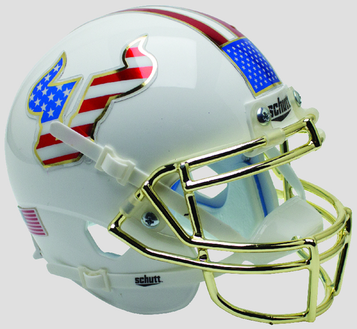 South Florida Bulls Replica Schutt XP Full Size Helmet - Flag with Chrome Mask