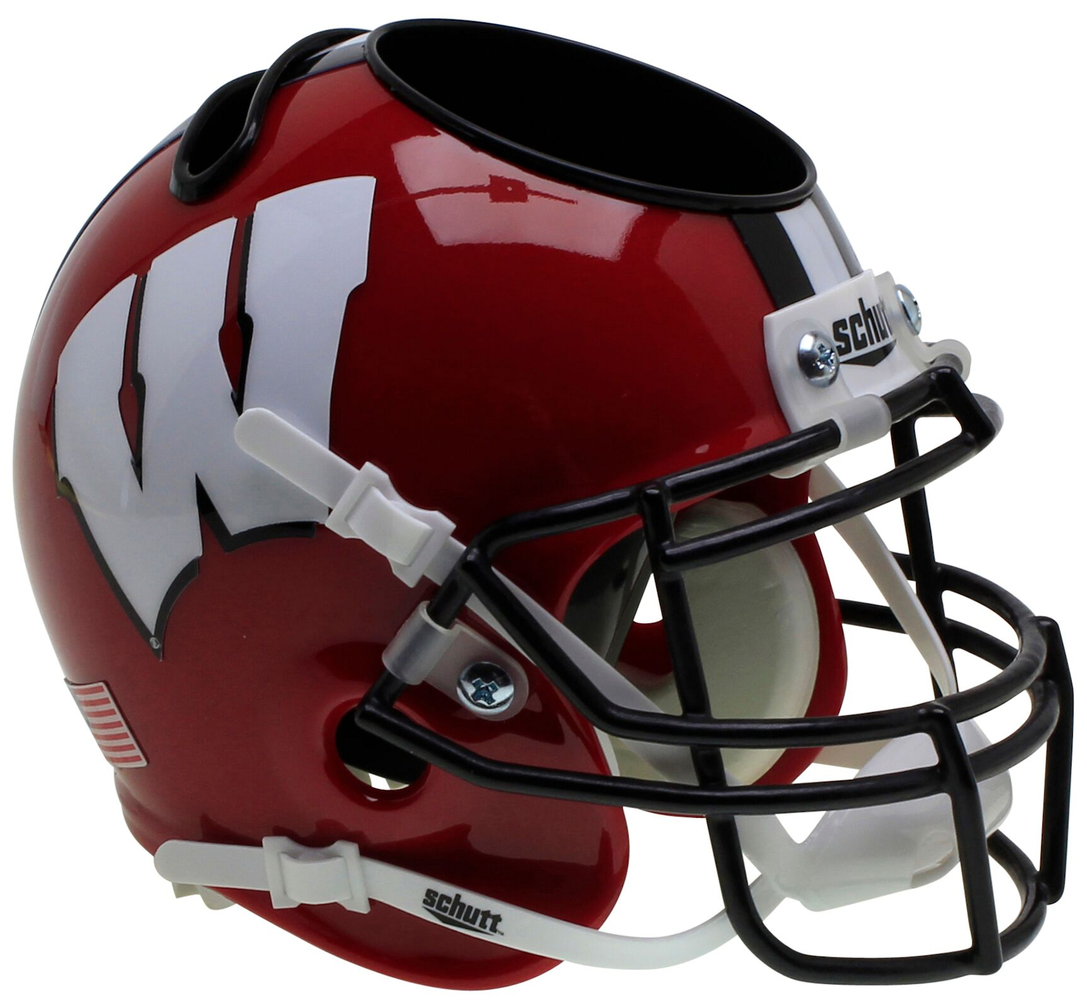 Wisconsin Badgers Mini Helmet Desk Caddy - Red Black Mask