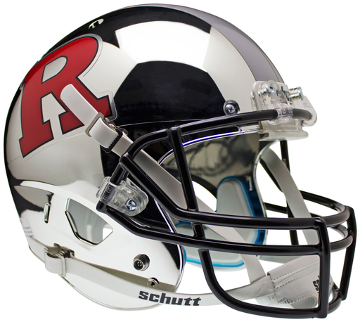 Rutgers Scarlet Knights Replica Chrome Schutt XP Full Size Helmet - Chrome Red R and Silver Stripe