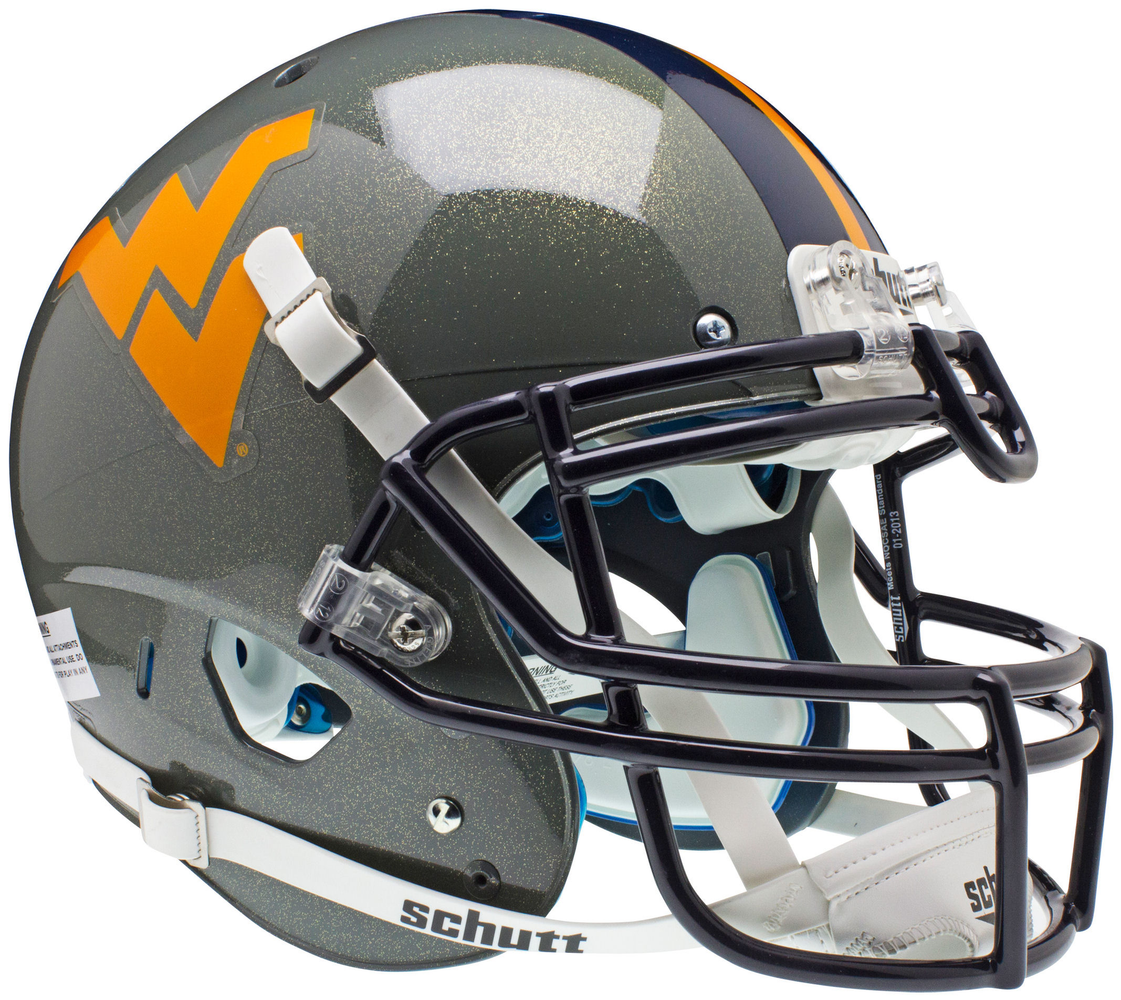 West Virginia Mountaineers Authentic Schutt XP Full Size Helmet - Gray Sparkles