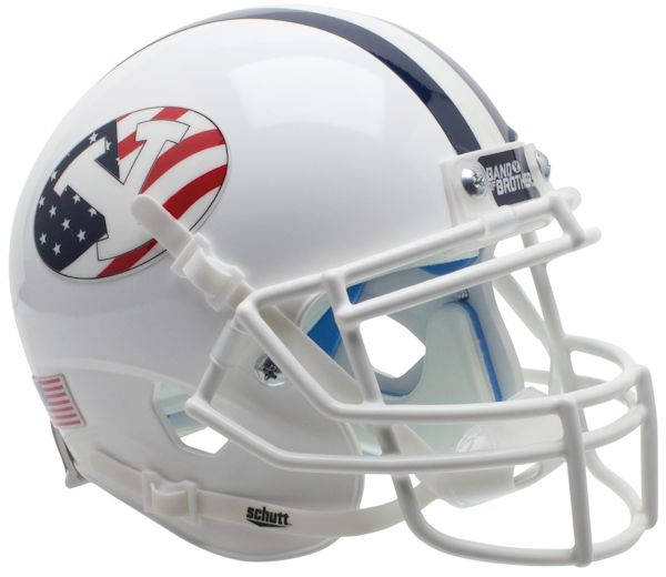BYU Cougars White Schutt XP Mini Helmet - Never Forget