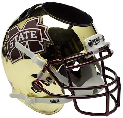 Mississippi State Bulldogs Mini Helmet Desk Caddy - Chrome Gold